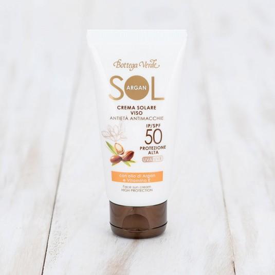 Сонцезахисний ANTI-AGE крем для обличчя SPF 50 «SOL Argan»